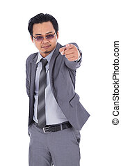 business man pointing isolated on white background