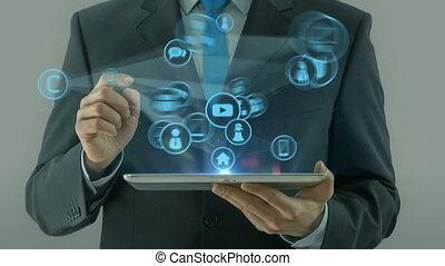 Business man pointing on cloud technology network media concept tablet pad on white light background