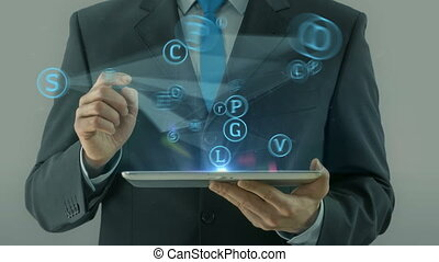 Business man pointing on social media network concept text cloud animation businessman finger scroll tablet pad light white background