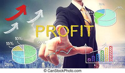 Business man pointing PROFIT