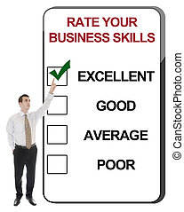 Rate Business Skills - Business man pointing Rate Business...