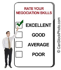Rate your negociation skills - Business man pointing Rate...