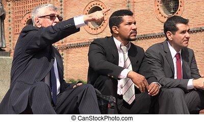 Business Man Pointing  Talking