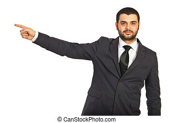 Business man pointing to copy