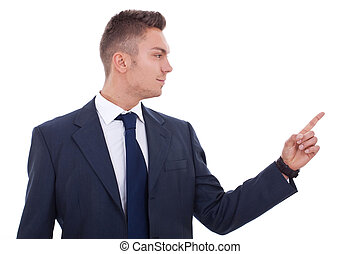 business man pointing to the side