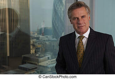 Business Man - Portrait of a senior executive by a window ...