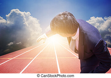 Business man prepare to receive relay baton on track. business concept start up precpare before a success. competition. business cooperation and partner.