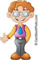 business man presenting cartoon