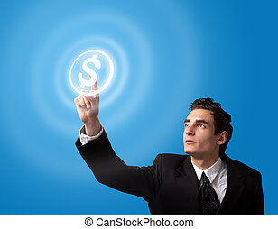 business man pressing button
