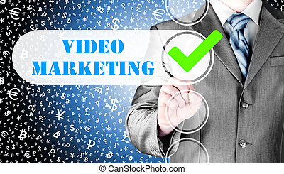 business man pressing checkbox Video Marketing