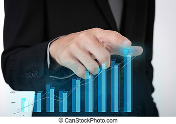 Business man pressing high tech type of modern graph on a virtual background