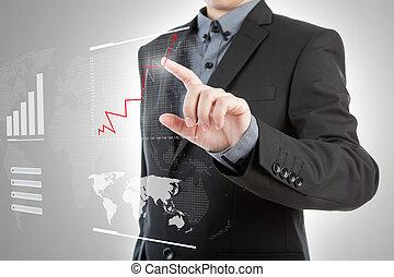 Business man pressing high tech type of modern graph on a...