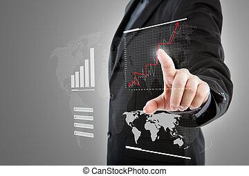 Business man pressing high tech type of modern graph on a ...