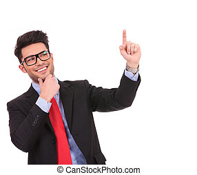 business man pressing imaginary button