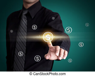 Business man pressing money icon