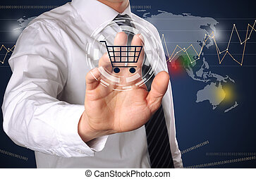 online shopping - business man pressing shopping cart icon,...