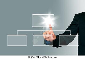Business man pressing transparent button on the digital screen  background, organization chart