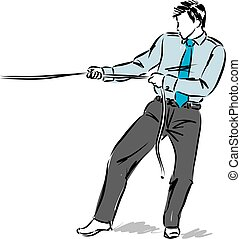 business man pulling a rope vector illustration.eps