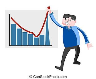 Business man pulling graph upward