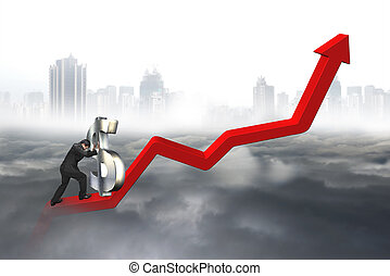 Business man push 3D dollar sign upward at starting point