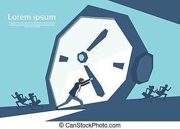 Business Man Push Clock Arrow Busy Businessman No Time