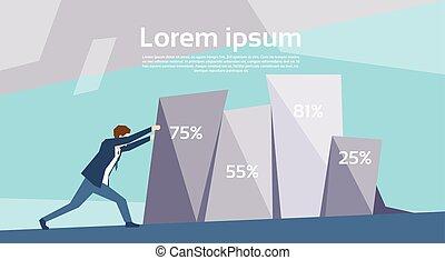 Business Man Push Financial Graph Growing Up Success Growth...