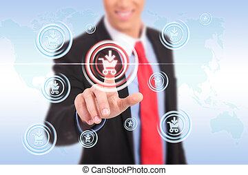 business man push shopping button
