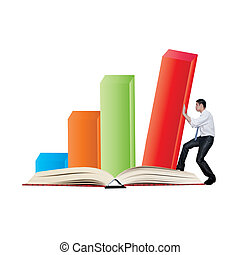 Business man pushing 3d bar graph on the book