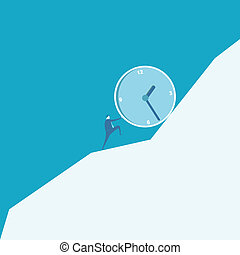 Business man pushing a huge clock up hill