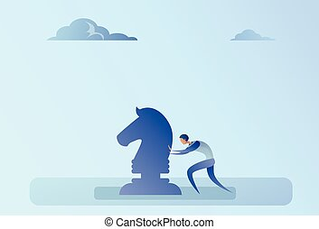 Business Man Pushing Chess Figure Brainstorming Strategy Planning Process Concept