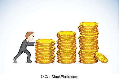 Business man pushing Coin Bargraph