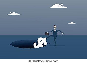 Business Man Putting Dollar In Hole Economic Fail Crisis Concept