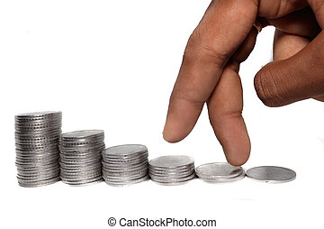 Business man putting fingers on coin and looking for profit growth up, Collecting money with earning bank deposit interest. Business ideas concept isolated white background.