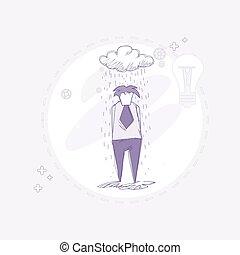 Business Man Rain Big Problem Failure Concept