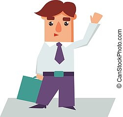 Business Man Raising Hand Cartoon Character Vector Illustration