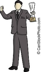 business man raising his trophy and a fist vector illustration sketch doodle hand drawn with black lines isolated on white background