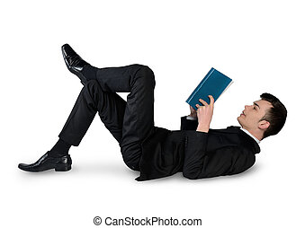 Business man reading book down