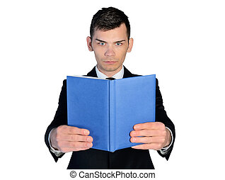 Business man reading book