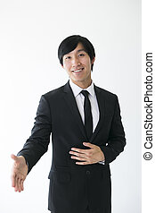 business man ready to shake hands - Asian man in suit ready...