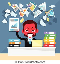 Business Man Red Face Problem, Throw Papers, Documents Fly Concept
