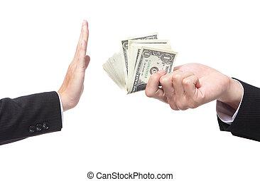 Business man refusing money offered