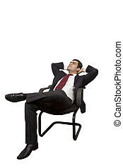 Business man relaxing on a chair looking up