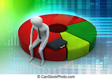 Business man resting on pie chart