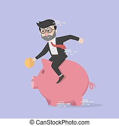 business man riding piggy bank