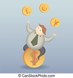 business man risk on money exchange cartoon character