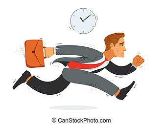 Business man run and hurry late vector illustration, funny comic cute cartoon accountant or businessman worker or employee in a rush.