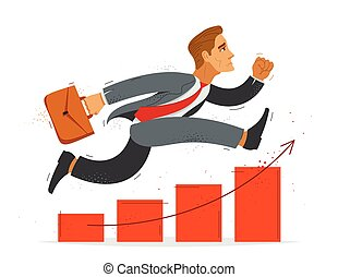 Business man run and hurry on growth chart graph vector illustration, funny comic cute cartoon accountant or businessman worker or employee in a rush to financial success.