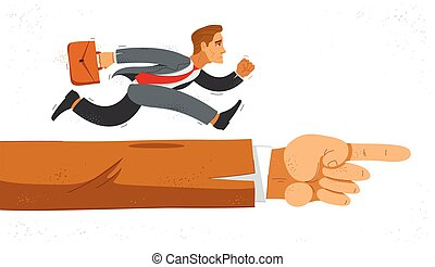Business man run and hurry on pointing boss hand symbolizes career motivation vector illustration, funny comic cute cartoon worker or employee in a rush to success.