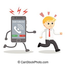 Business man run away from debt collector phone call