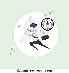 Business Man Run Busy Businessman Time Deadline Thin Line